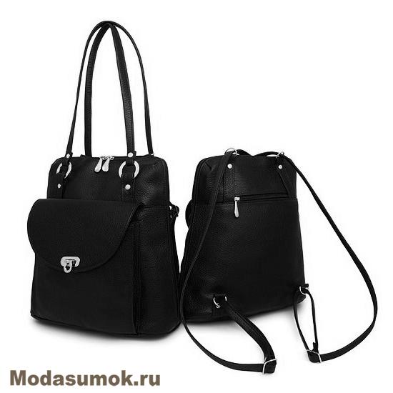 2dec7d3dd8bd Сумка-рюкзак женская из натуральной кожи Protege Ц-226 черная купить ...